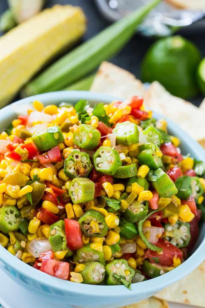 Okra Corn Salsa makes a healthy appetizer