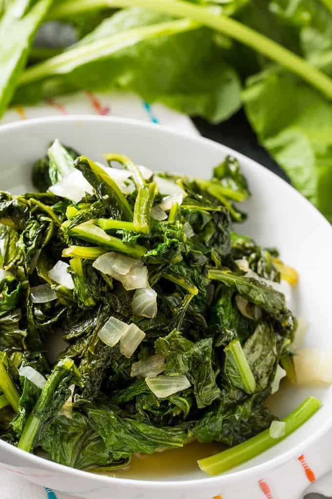 Easy Skillet Turnip Greens make a healthy, vegetarian southern side