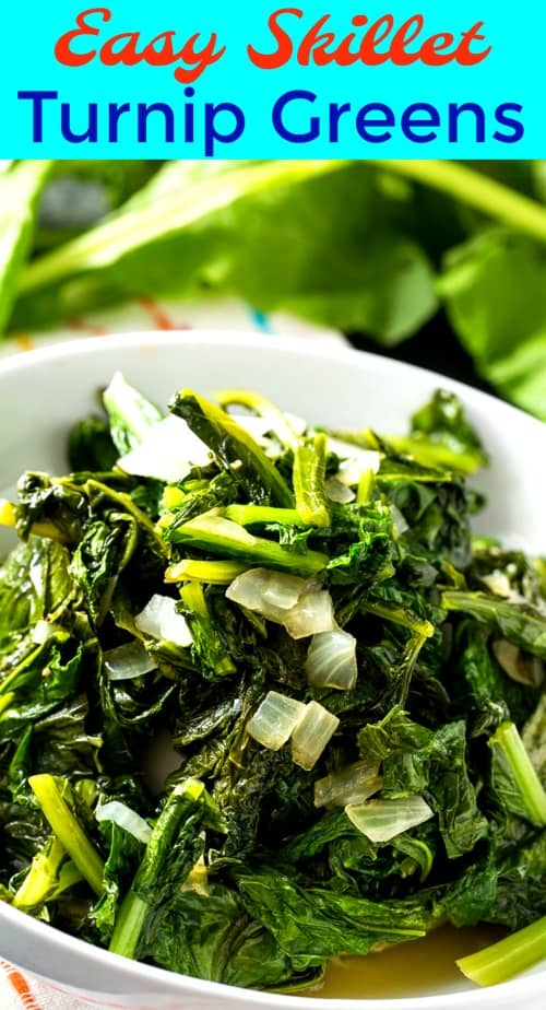 Easy Skillet Turnip Greens  #vegetarian #healthy #lowcarb #glutenfree