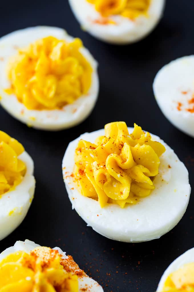 Skinny Deviled Eggs made with cottage cheese