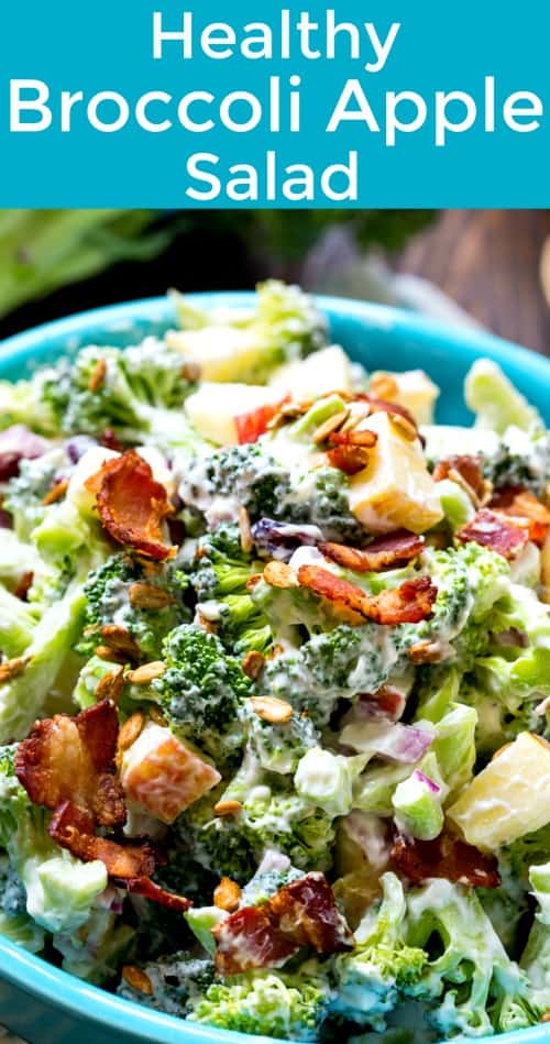 Healthy Broccoli Apple Salad with bacon #apples #weightwatchers #salad #potluck