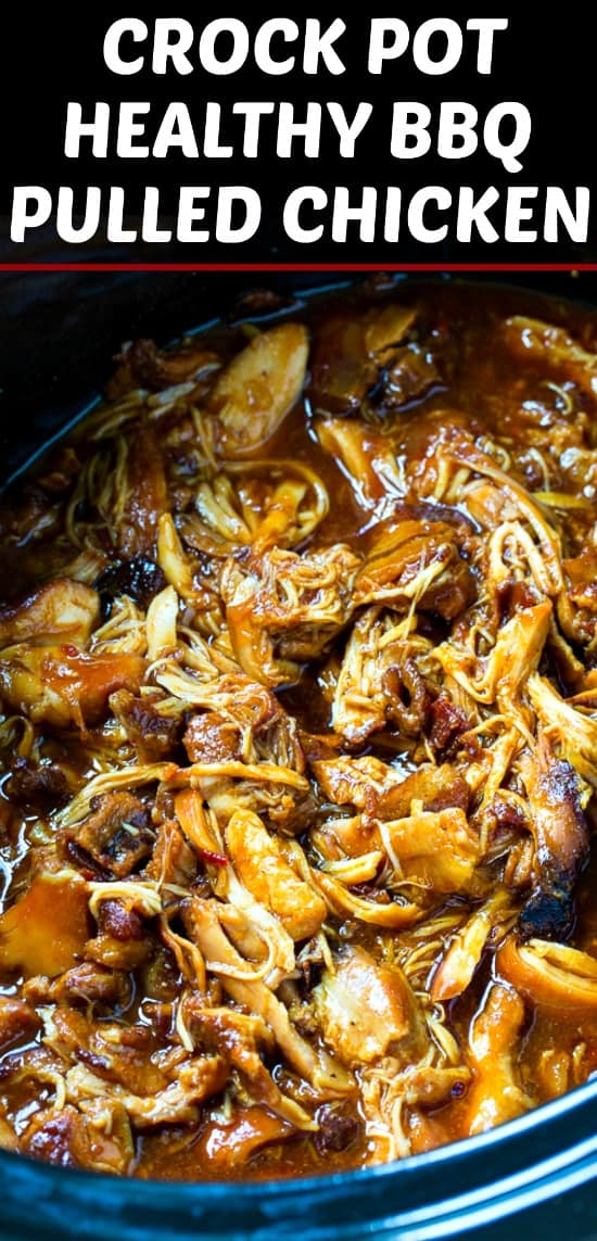 Crock Pot Healthy BBQ Pulled Chicken