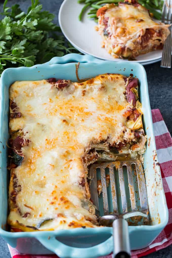 Vegetarian Lasagna made in a 9x13-inch pan