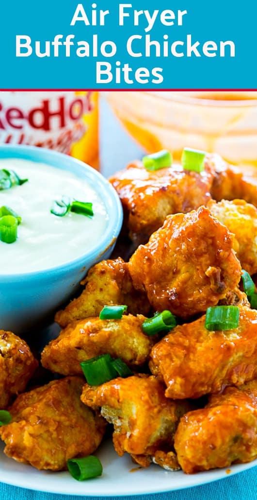 Air Fryer Buffalo Chicken Bites #airfryer #buffalochicken #gameday #healthy