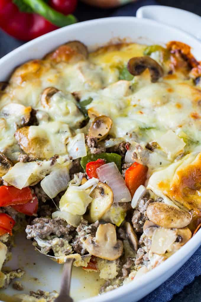 Low Carb Philly Cheese Steak Casserole