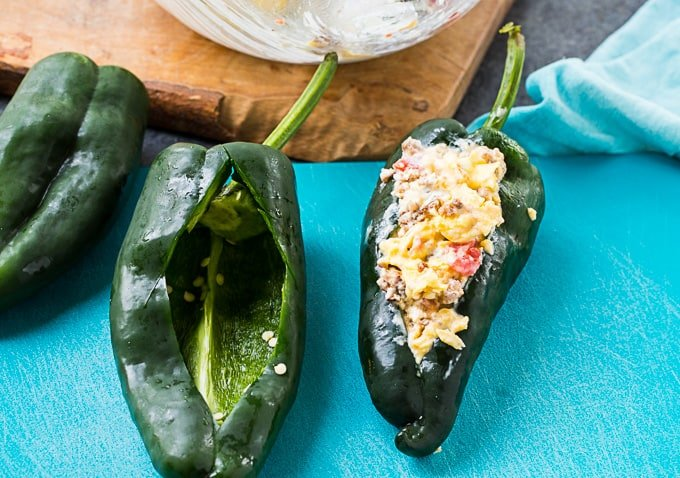 Ploblano peppers stffed with egg and sausage mixture