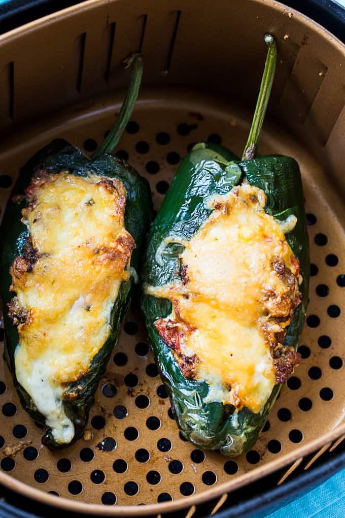 Low Carb Air Fryer Breakfast Stuffed Poblanos