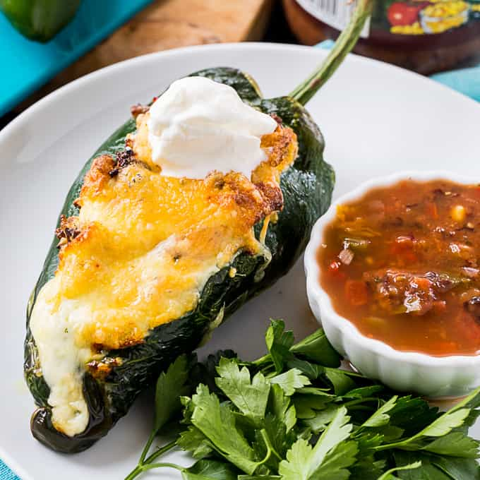 Air Fryer Breakfast Stuffed Poblanos