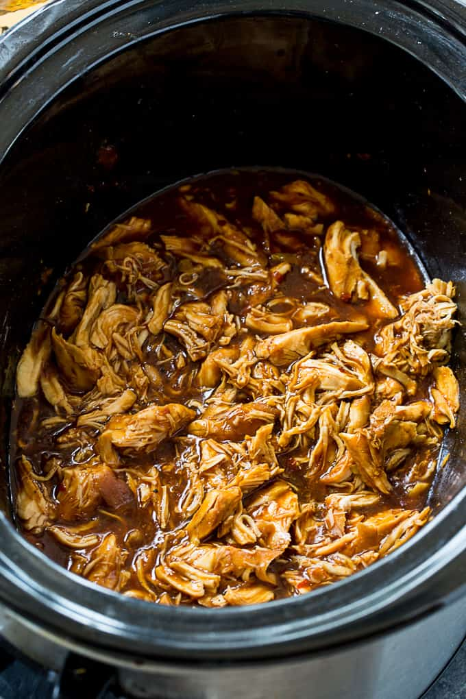 Crock Pot Low Carb Bourbon Chicken cooked in 6-quart slow cooker