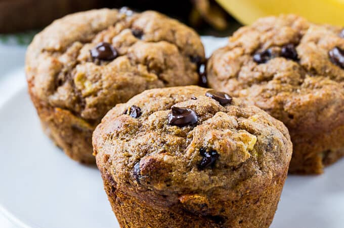 Skinny Banana Chocolate Chip Muffins