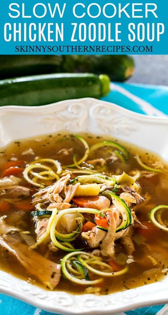 Slow Cooker Chicken Zoodle Soup #lowcarb #paleo #keto