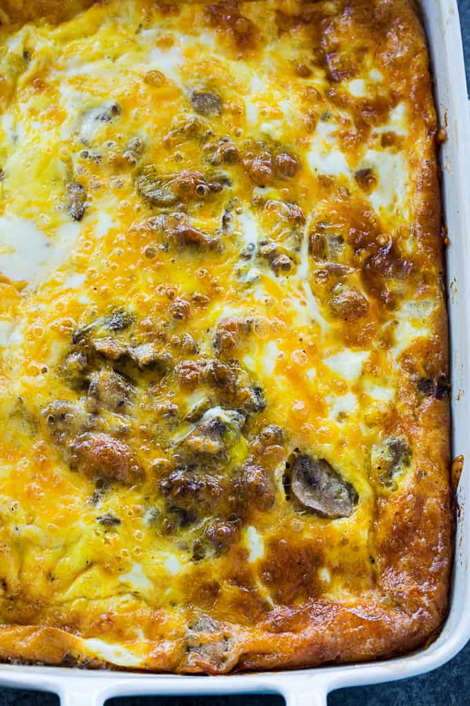 Spicy Sausage and Caramelized Onion Breakfast Casserole in baking dish