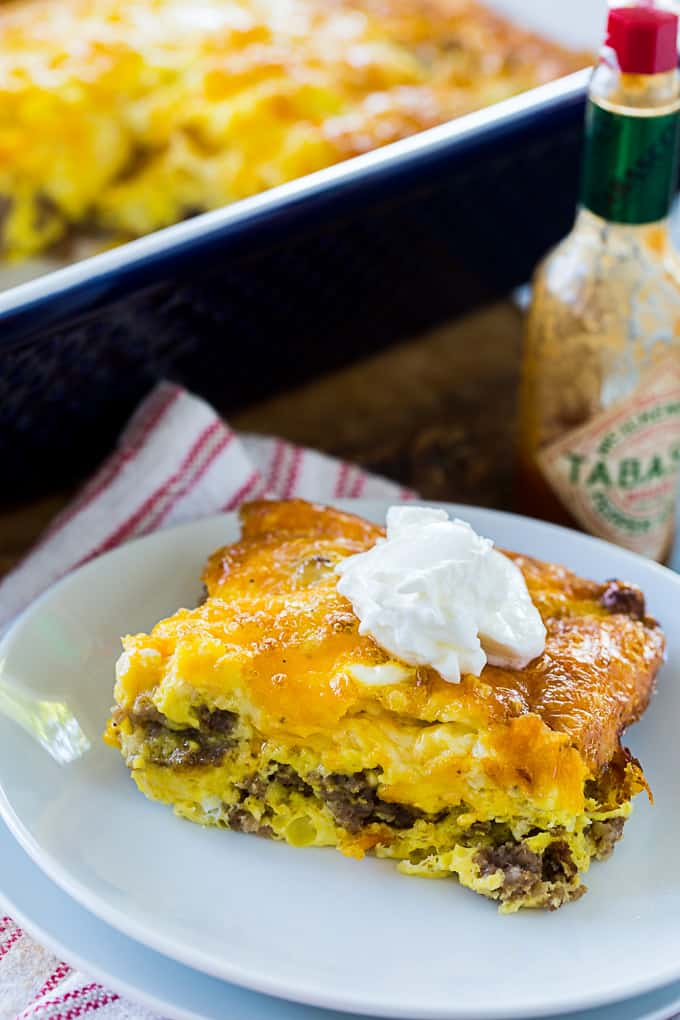 Low Carb Sausage Breakfast Casserole with sour cream