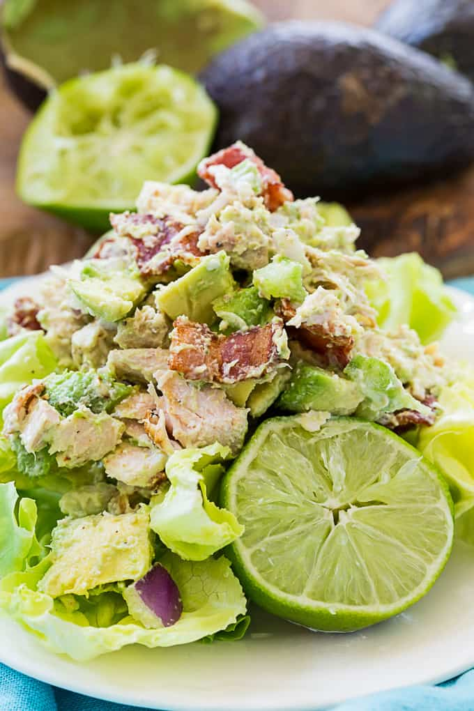 Chicken Salad with Avocado and Bacon on a bed of lettuce.