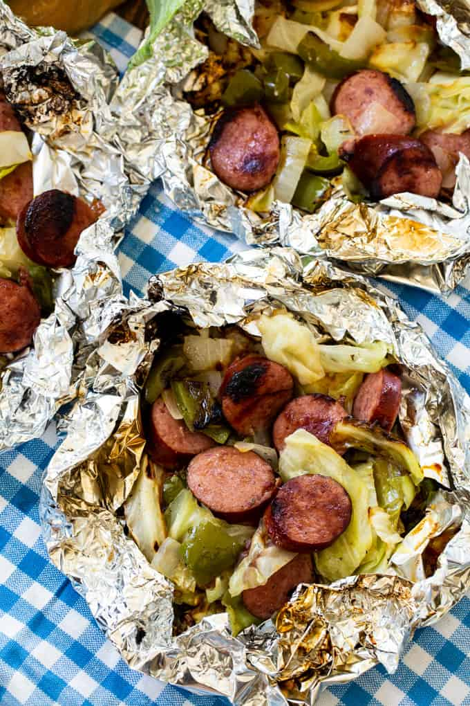 Keto Cabbage and Sausage Foil Packets