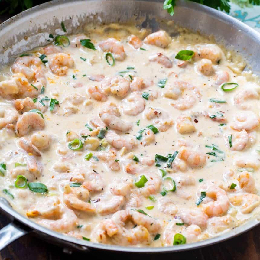 Keto Creamy Garlic Parmesan Shrimp