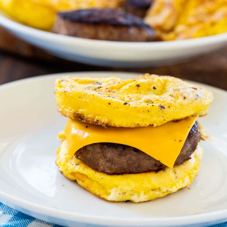 Inside-Out Sausage and Egg Sandwich on a plate
