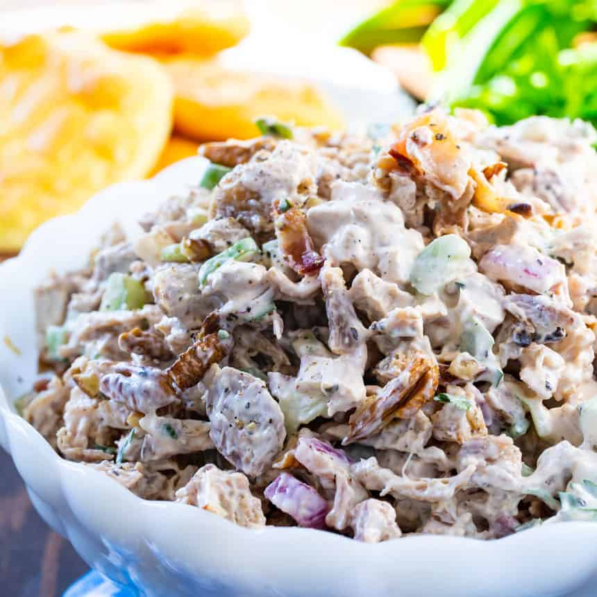 bowl full of low carb chicken salad
