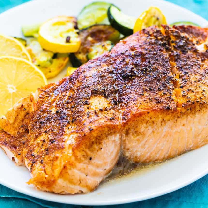 Easy Salmon cooked in an air fryer