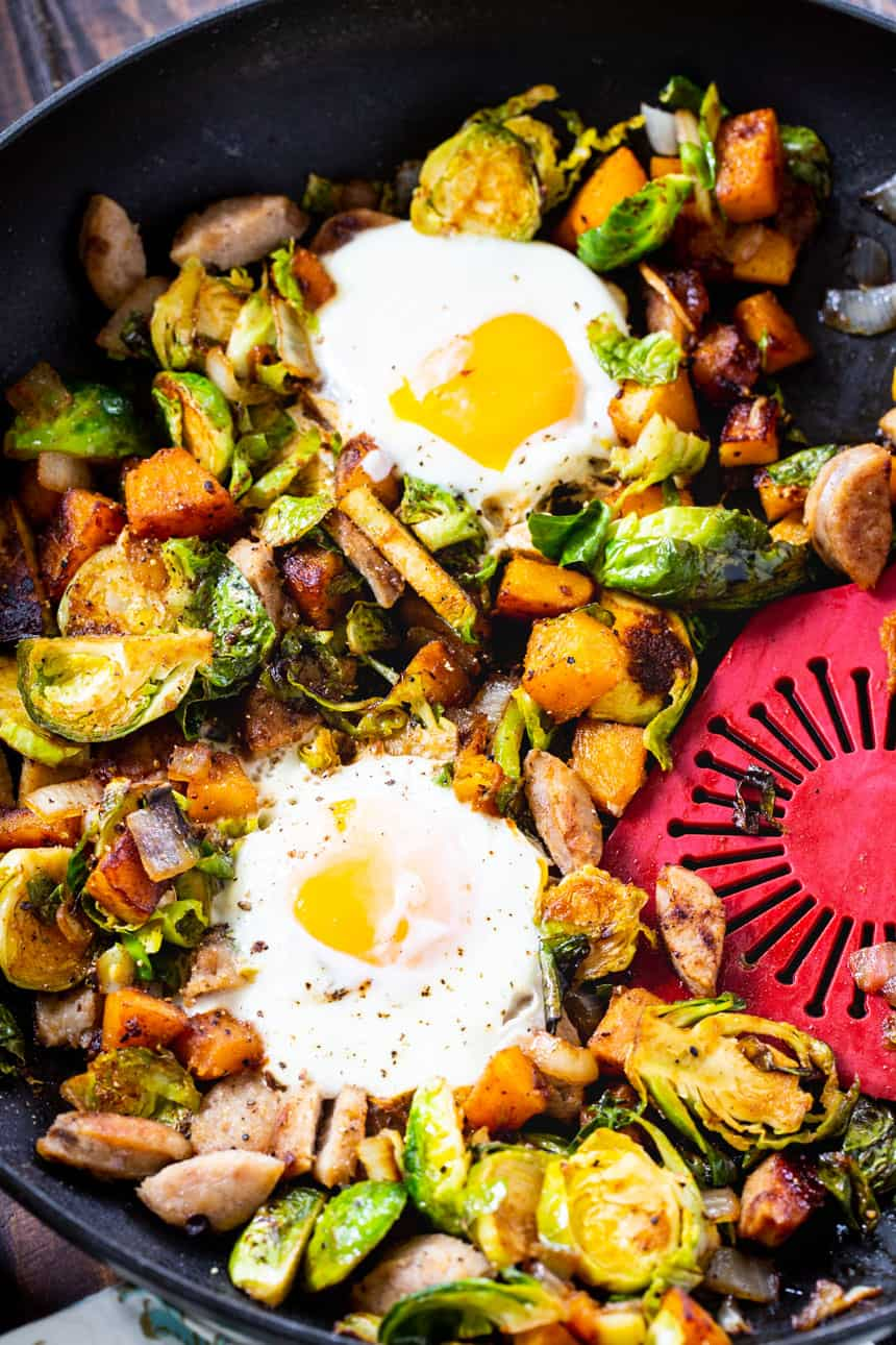 Hash made with butternut squash and brussels sprouts