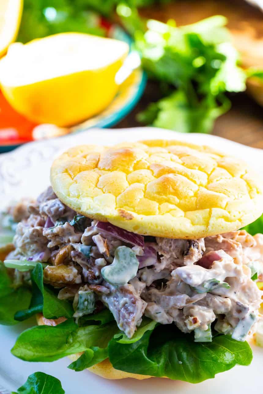 Roasted Chicken Salad on Cloud Bread