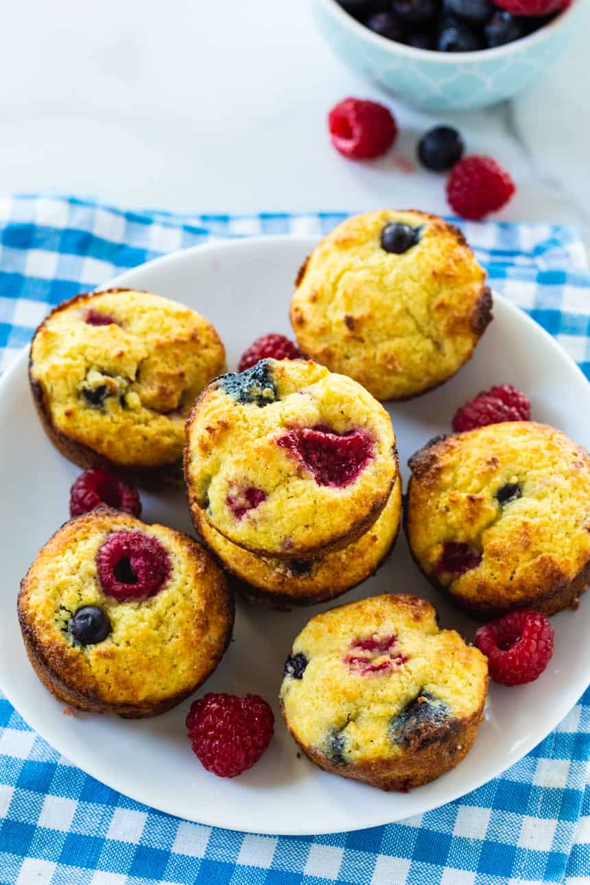 Low Carb Muffins with Blueberries and Raspberries