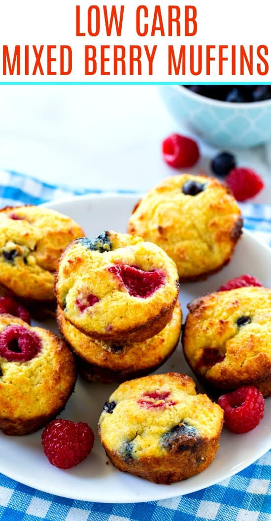 Low Carb Mixed Berry Muffins with blueberries and raspberries