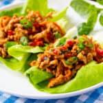 Thai Basil Chicken in lettuce leaves