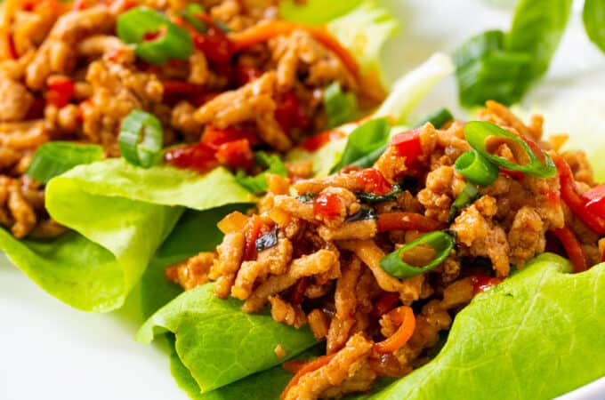Thai Basil Chicken in lettuce leaves