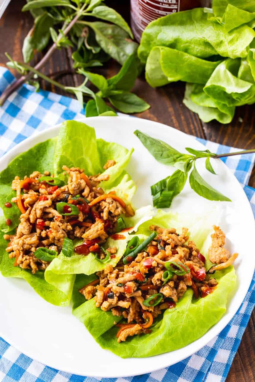 Spicy Thai Basil Chicken Lettuce Wraps