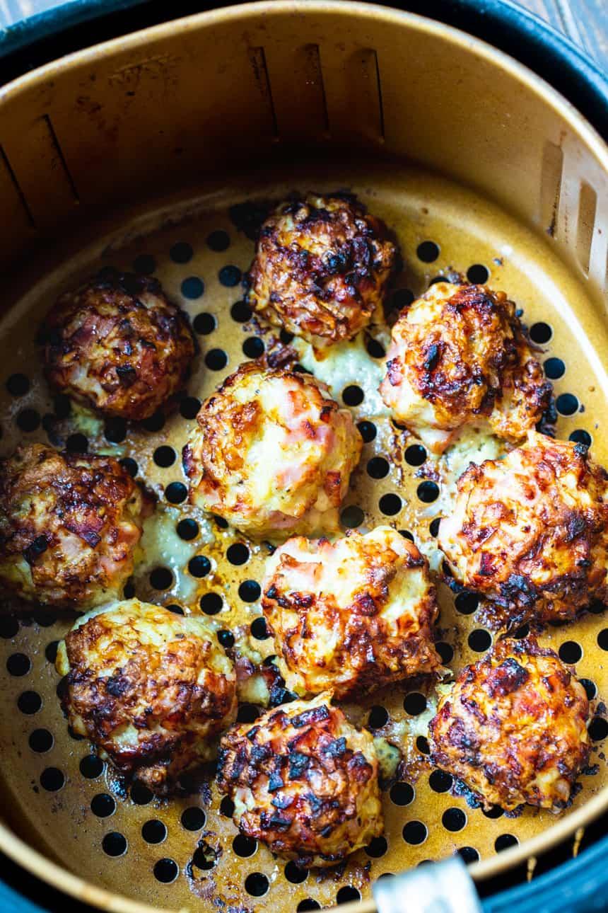 Air Fryer Low Carb Cordon Bleu Meatballs