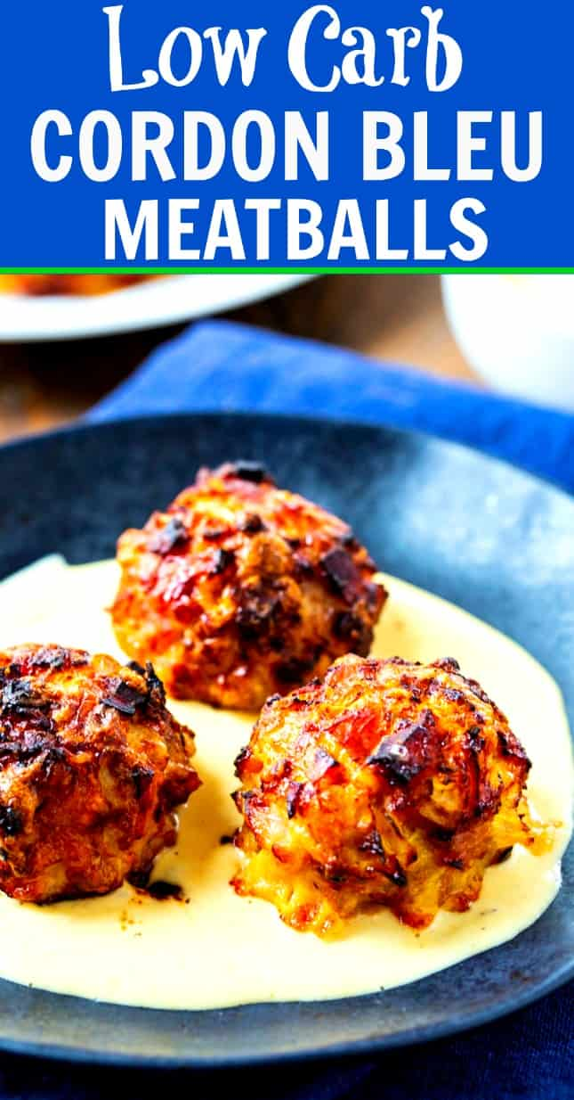 Low Carb Chicken Cordon Bleu Meatballs cooked in the air fryer