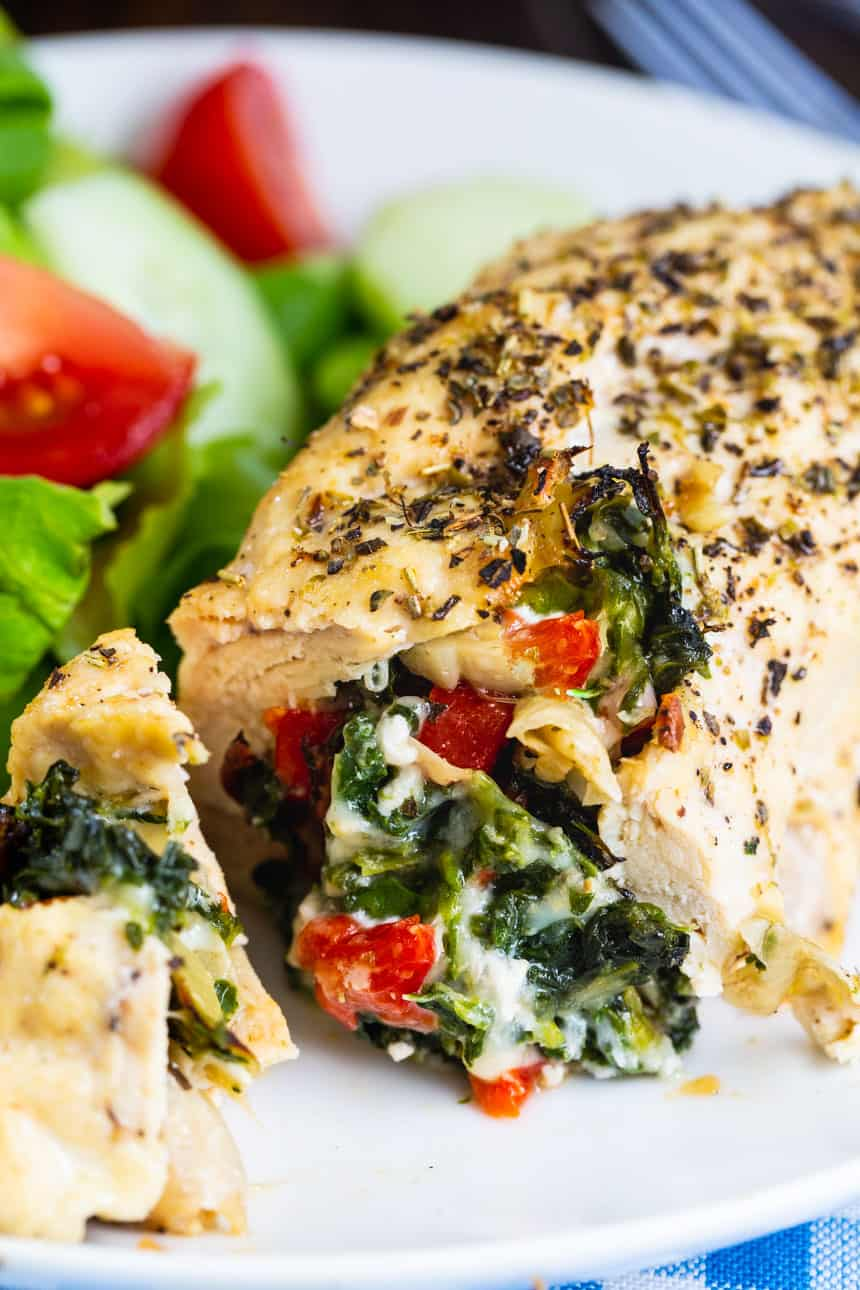 Close-up of Spinach and Artichoke Stuffed Chicken (Low Carb)