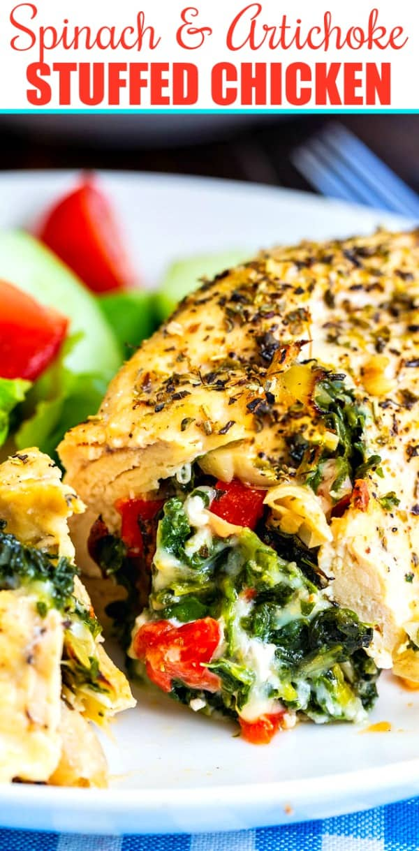 Close-Up of Low Carb Chicken stuffed with spinach and artichokes