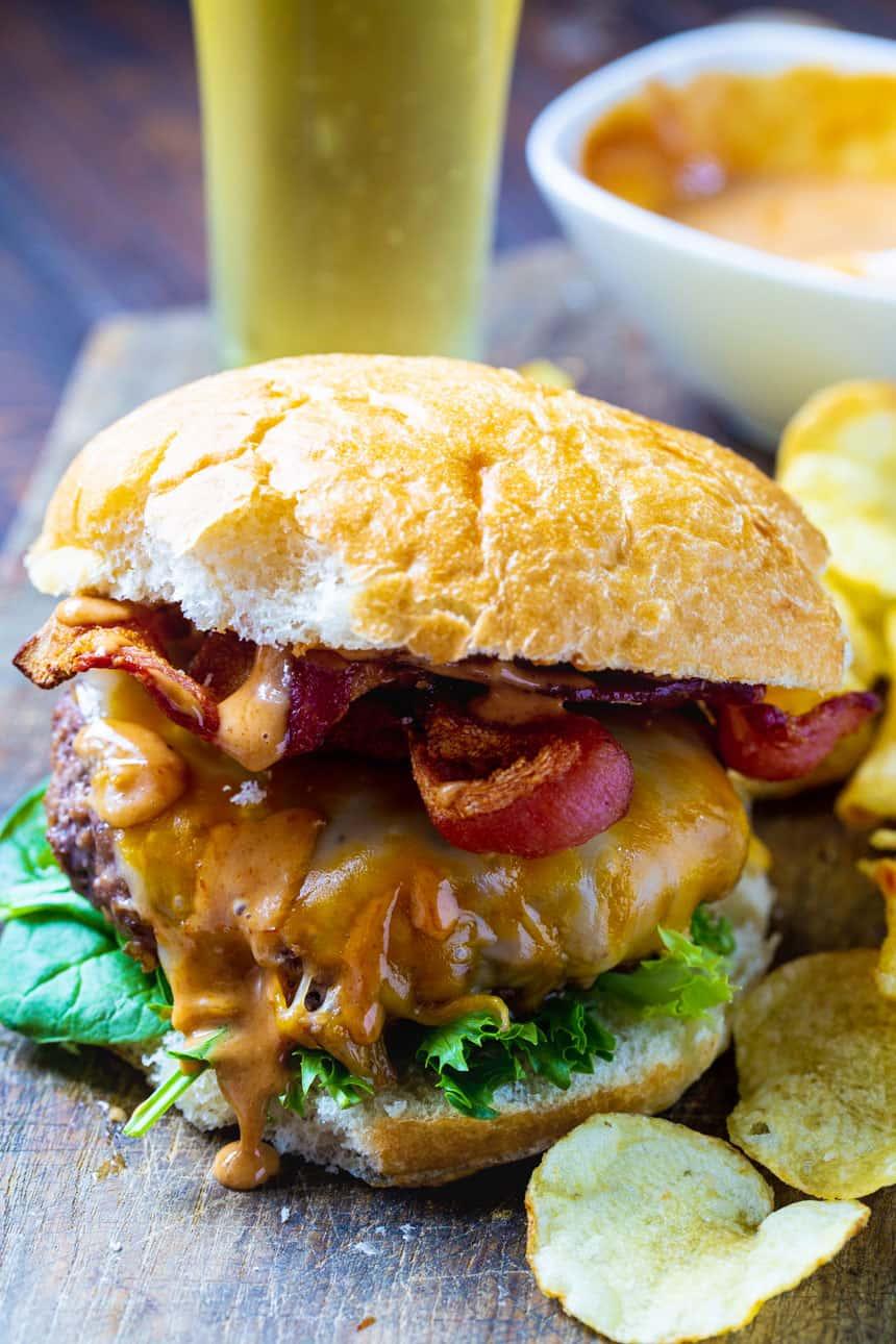 Close-up of Air Fryer Burger on a bun.