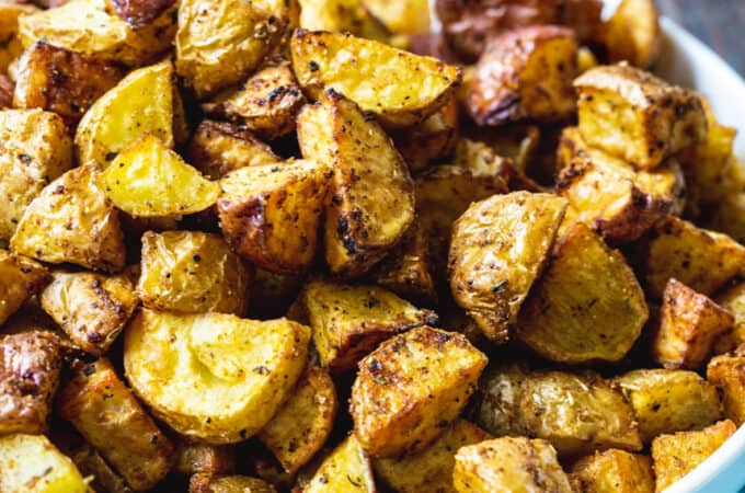 Bowl full of air fried potatoes.