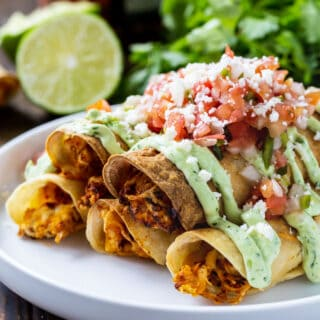 Taquitos filled with chicken on a white plate.