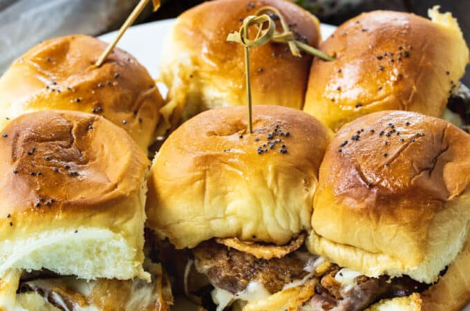 Beef Sliders on a white plate.