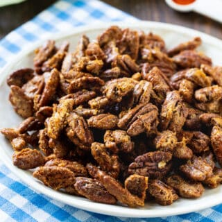 Candied Pecans on a plate.