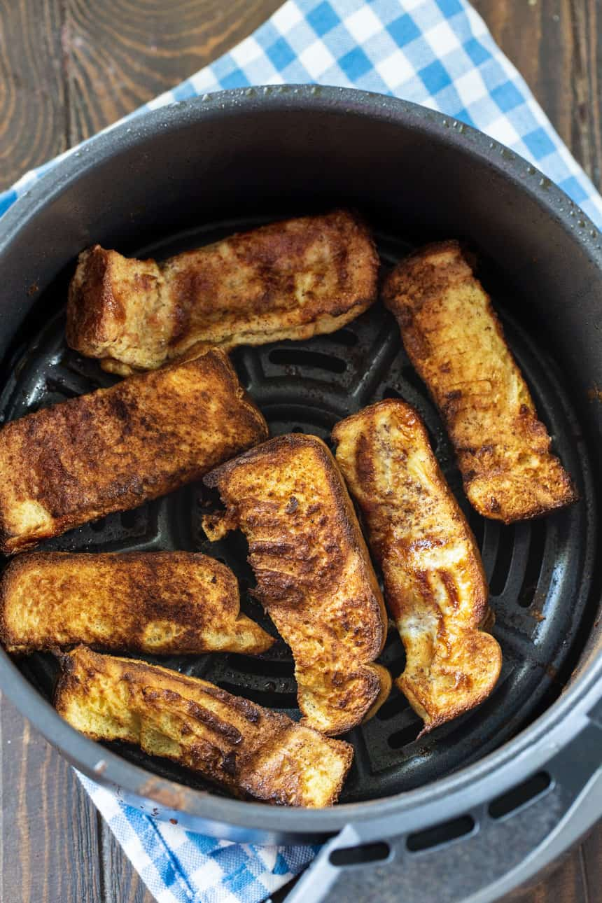 French Toast pieces in air fryer.