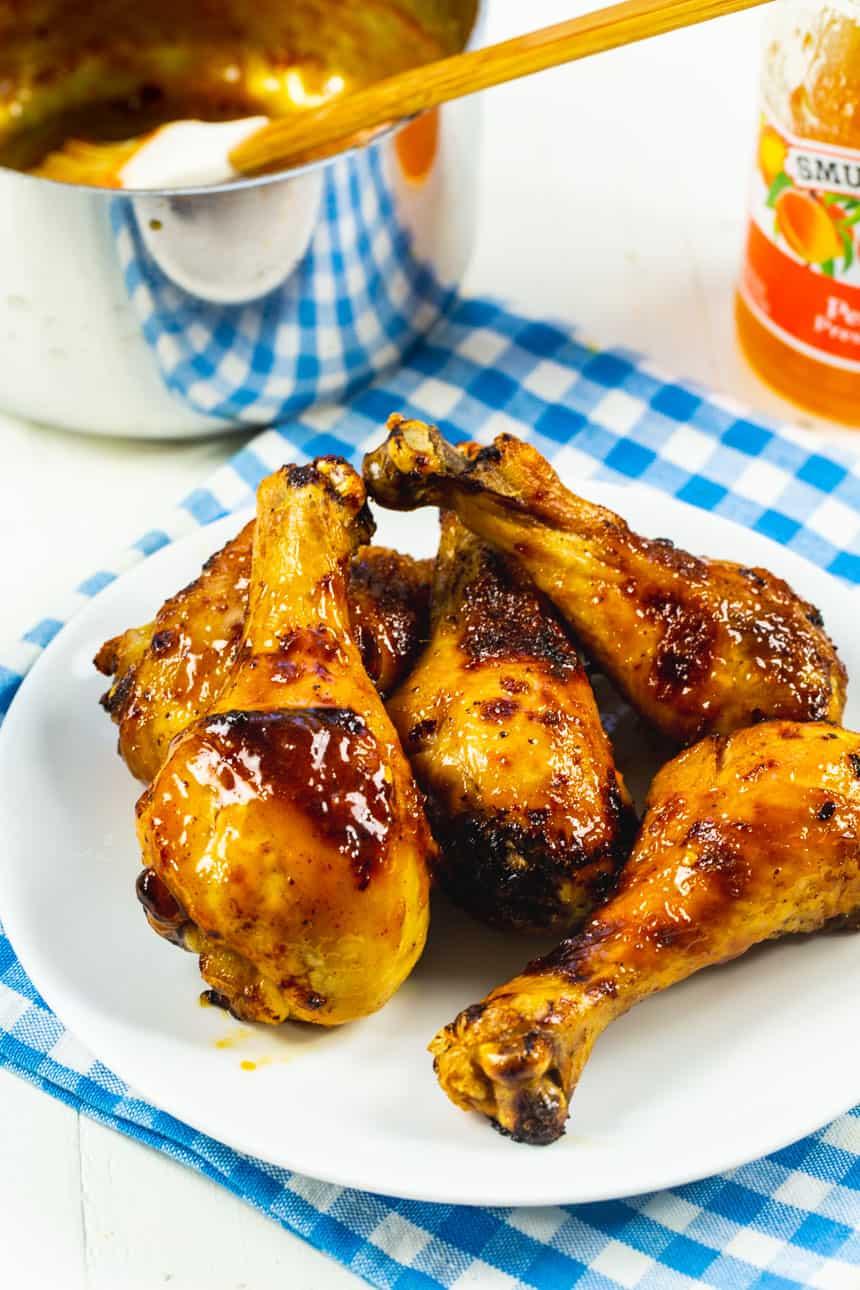 Air Fryer Chicken Legs on white plate.