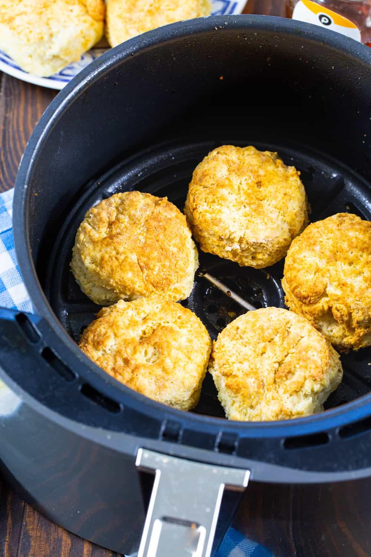 Buttermilk Biscuits in an air fryer.
