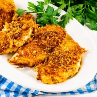 Air Fryer Parmesan Crusted Chicken on a serving platter.