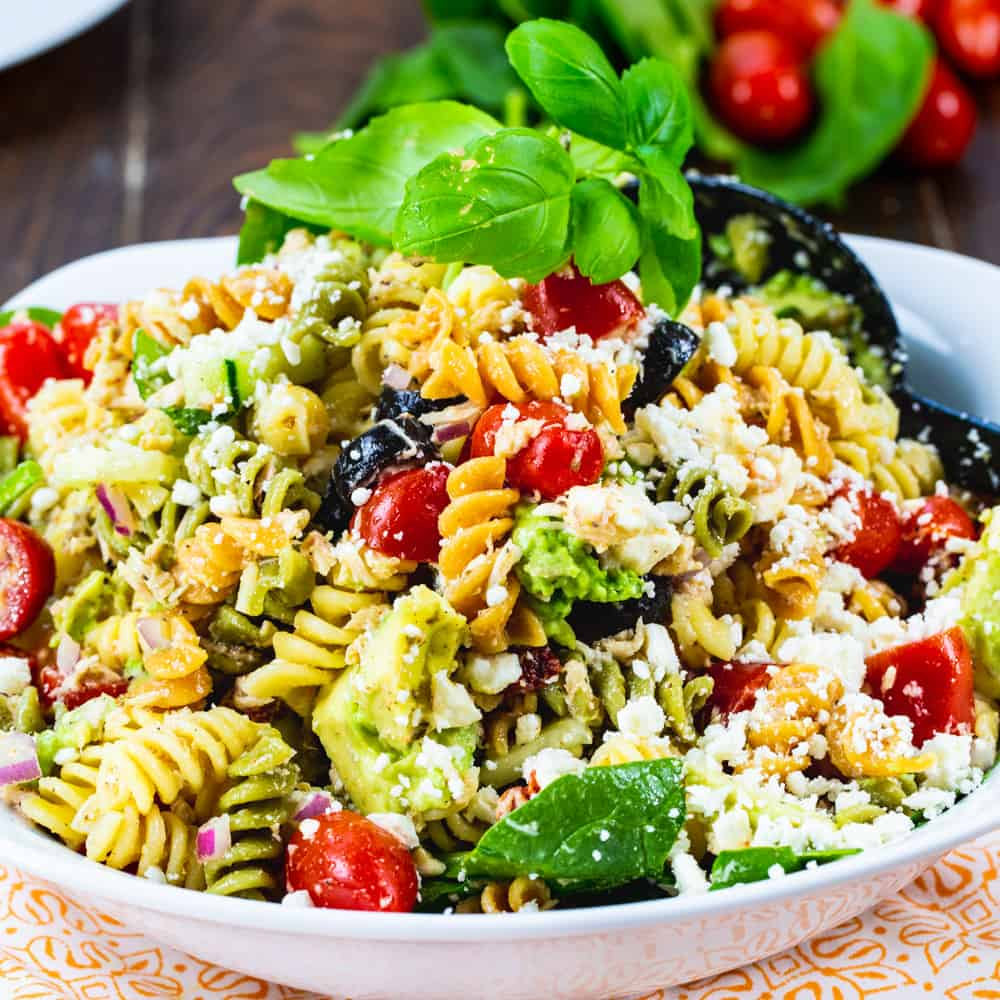 Tuna Pasta Salad with Balsamic Vinaigrette in serving bowl.