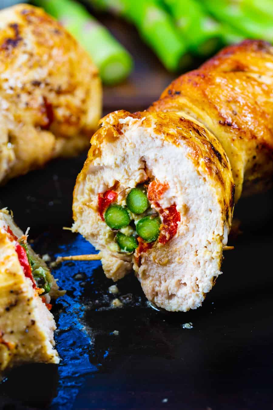 Chicken Roll-Up cut open to show inside.