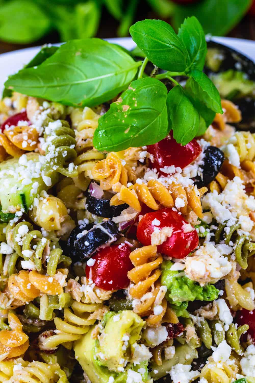 Close-up of pasta salad with tuna.