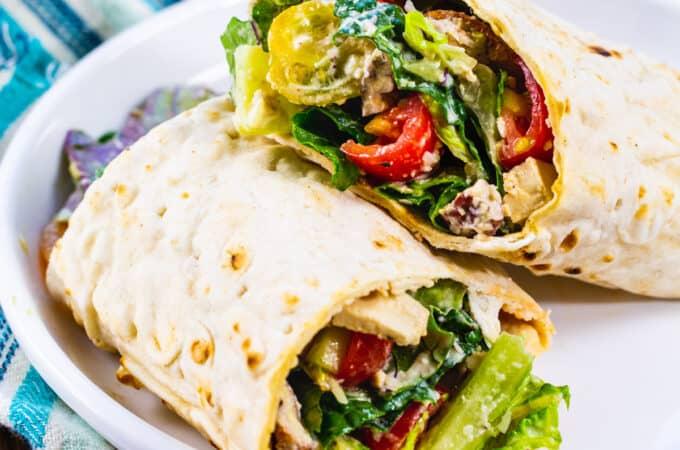 Vegan Kale Caesar Roll-Ups on a plate.
