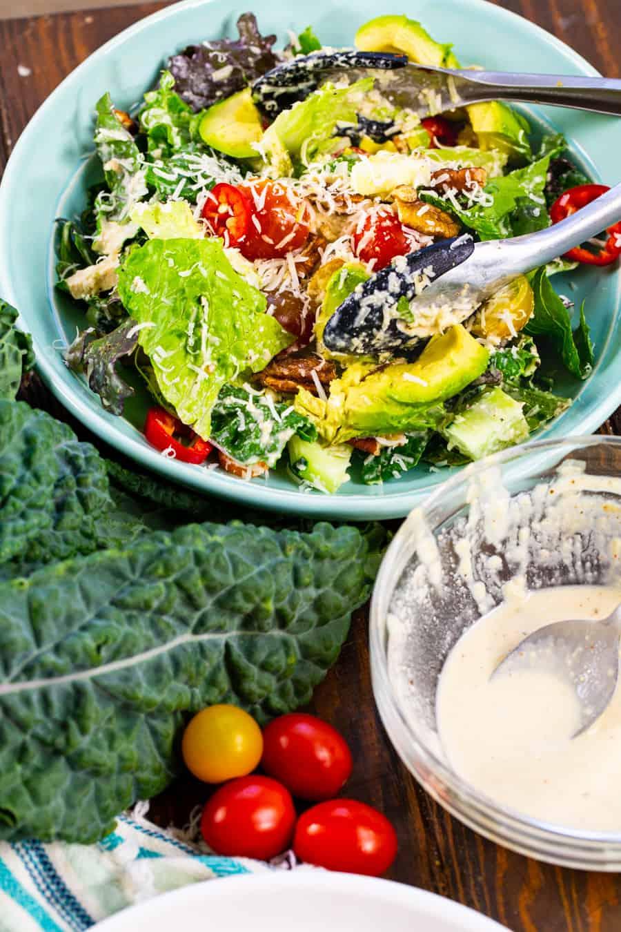 Vegan Kale Caesar Salad in a large bowl.