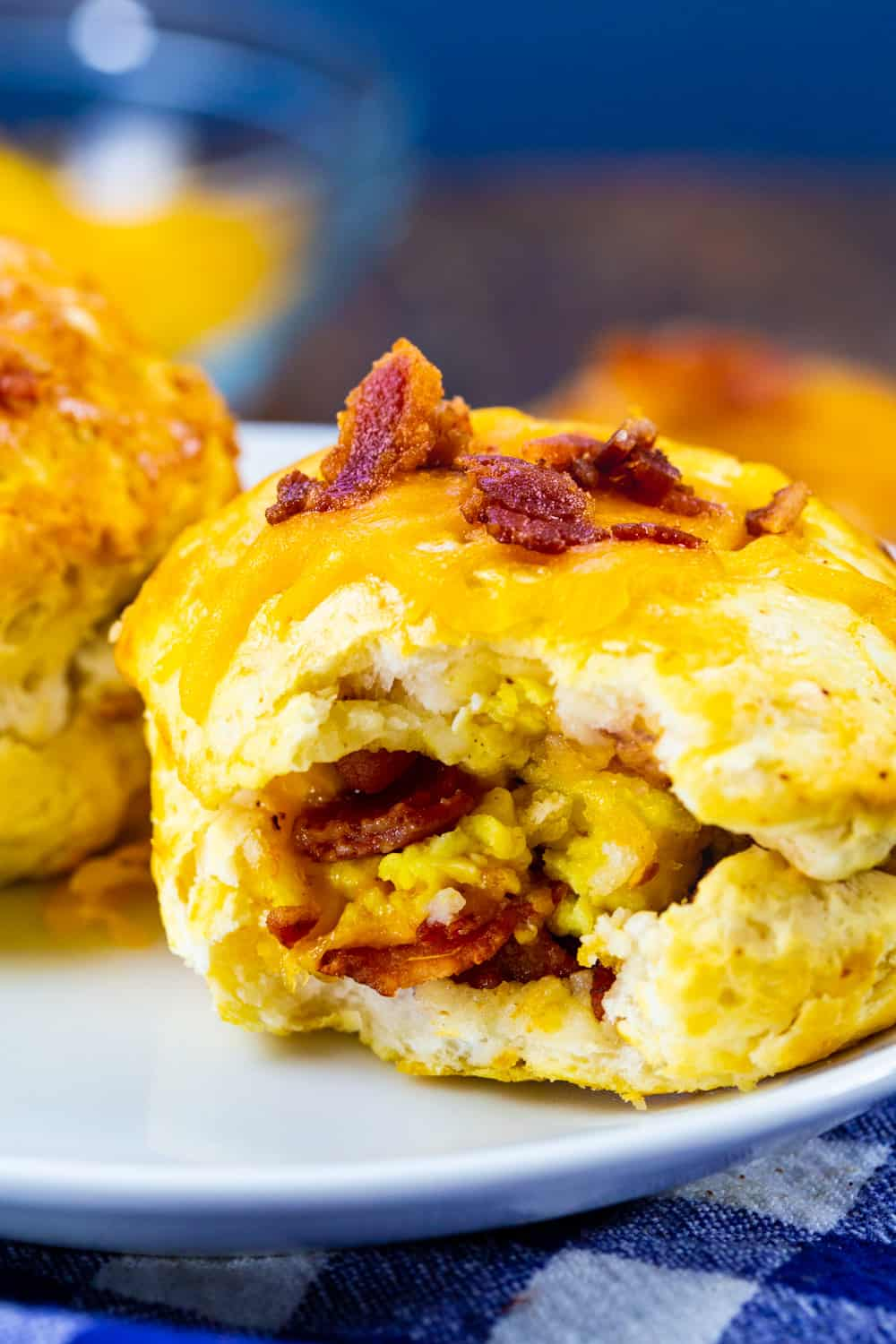 Close-up of inside of Bacon Egg & Cheese Biscuit Bomb.