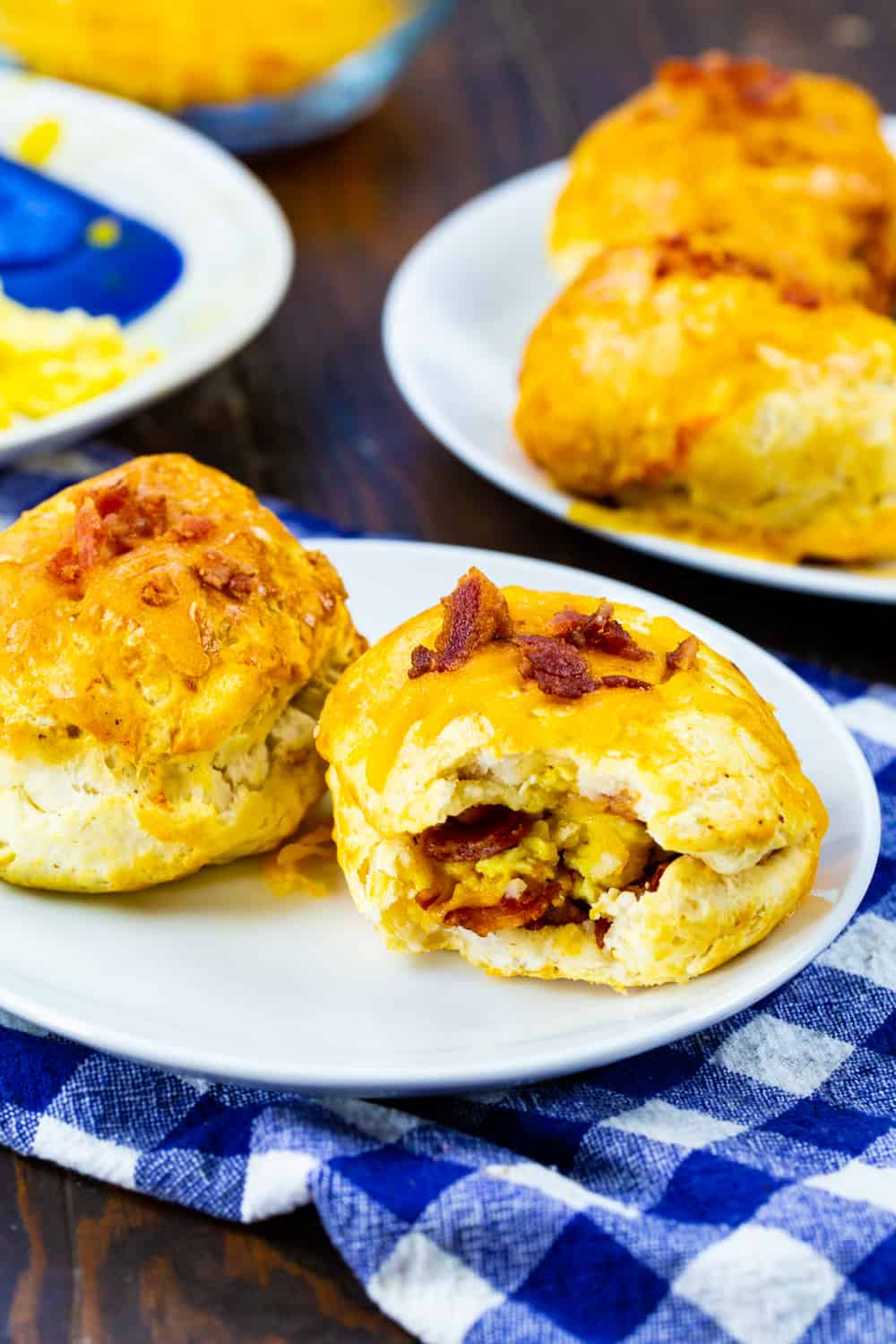 Biscuit Bombs on small plates.